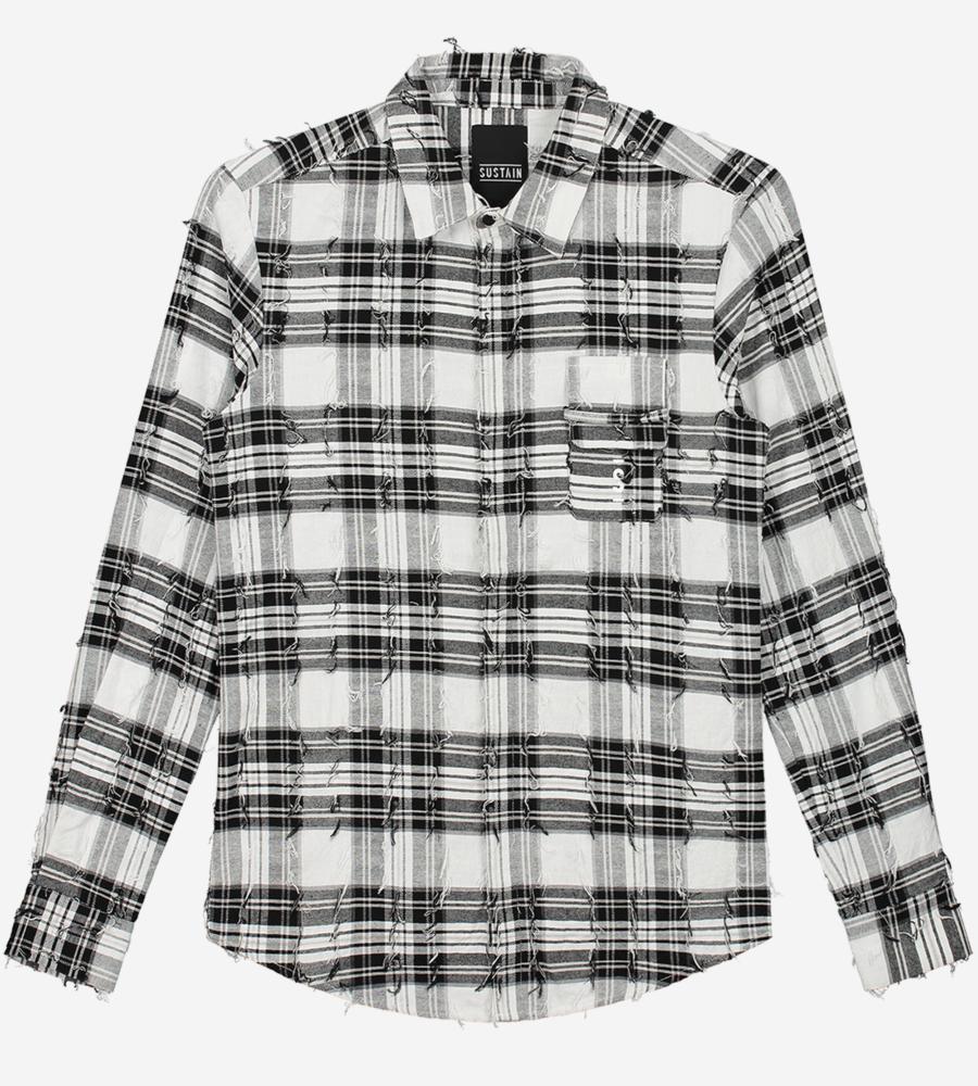 Geruit t-shirt met lange mouwen afbeelding 1