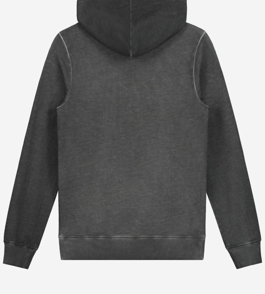 Grijze gewassen hoodie afbeelding 3