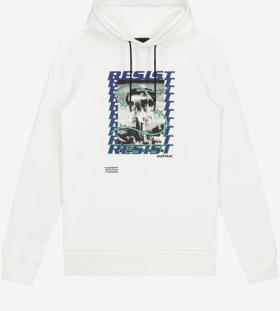 Witte hoodie met artwork afbeelding 1