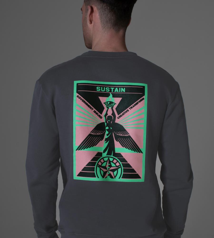 Loose fit sweater met artwork afbeelding 3