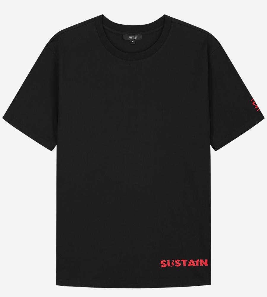 Boxy t-shirt met logo artwork afbeelding 1