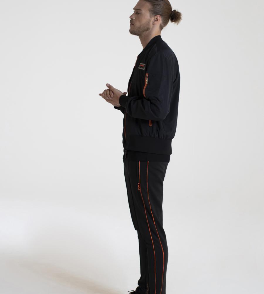 Zwarte bomber jas met oranje ritsen afbeelding 2