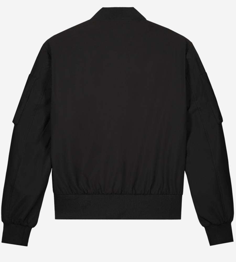 Zwarte bomber jas met oranje ritsen afbeelding 4